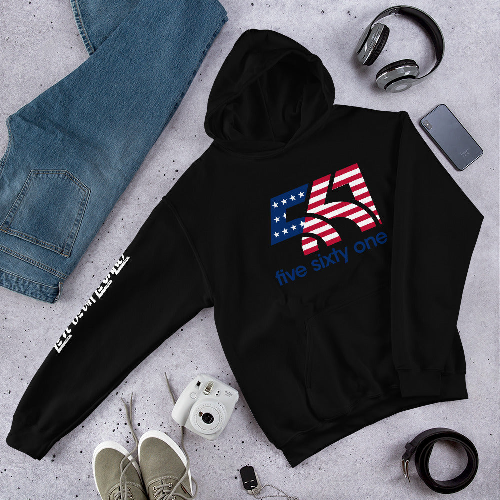 Five Sixty One Red, White & Blue Logo Unisex Hoodie