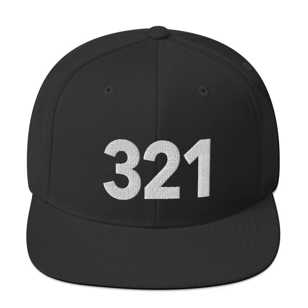 321 Area Code Snapback Hat - White Detail
