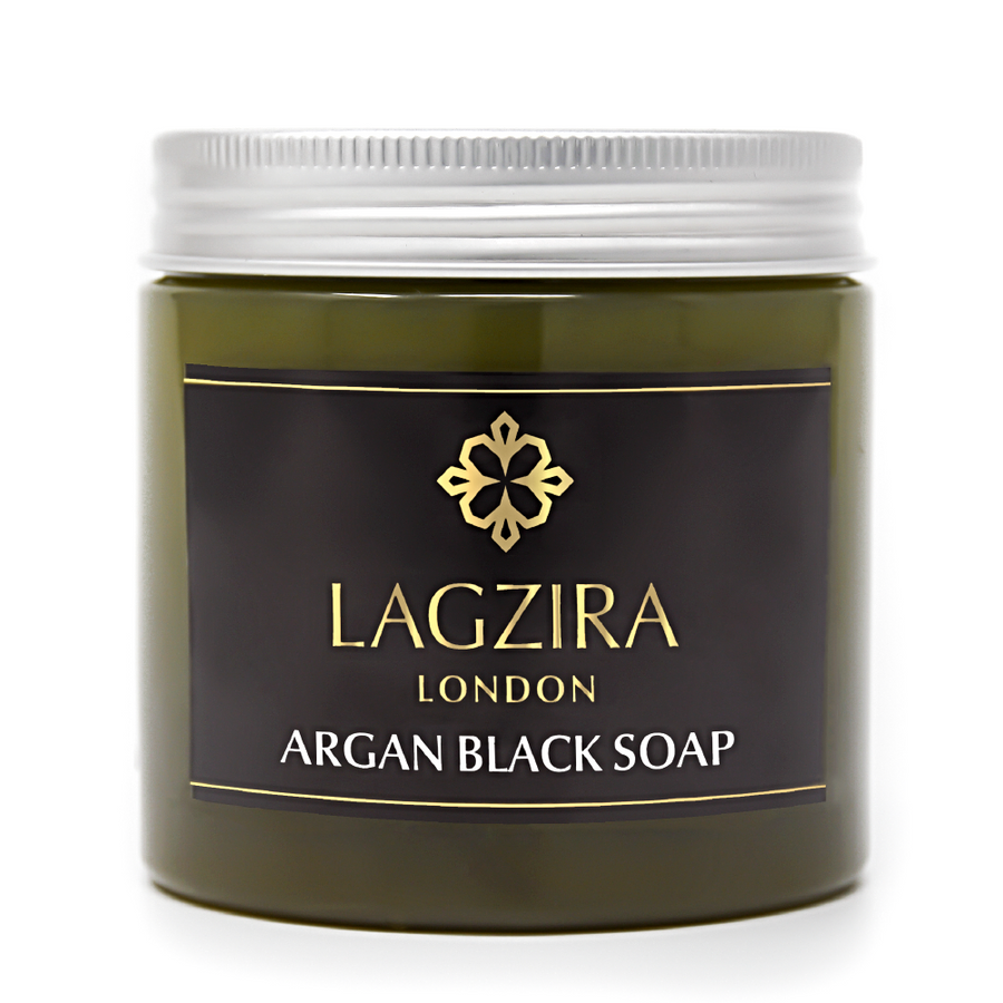 Organic Moroccan Beldi Black Soap With Argan Oil 200g - Lagzira London