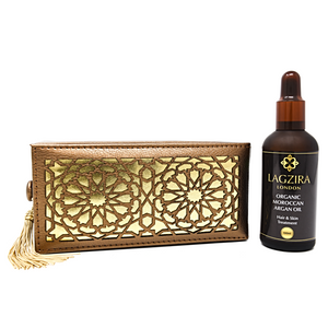 Luxury Pure Liquid Gold Organic Moroccan Argan Oil + Artisanal Leather Gift Box - Lagzira London
