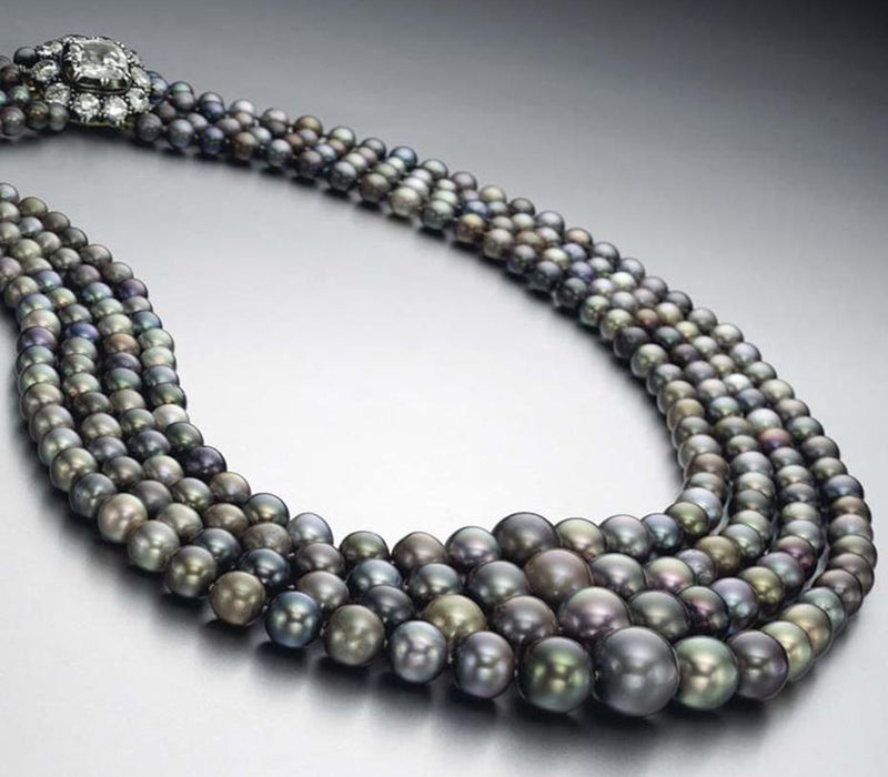 4 Strand Natural Black Pearl Necklace