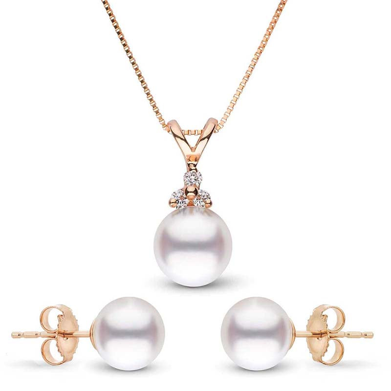 Pearl Anniversary Gift Ideas: Blessed Akoya Pearl and Diamond Pendant and Earring Set