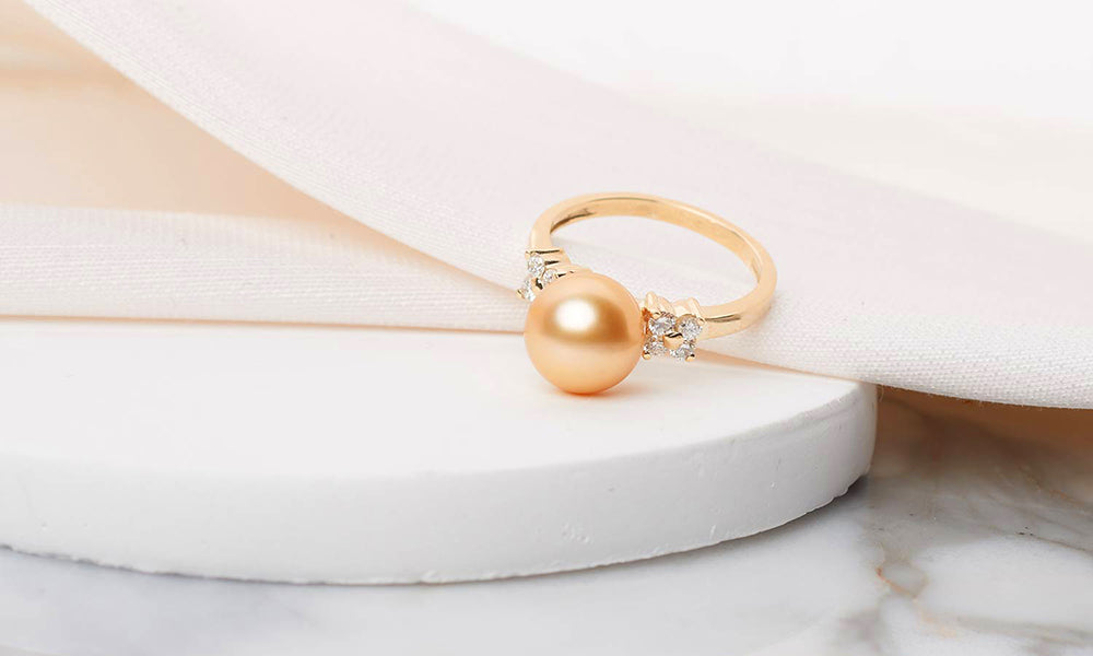 Pearl Anniversary Gift Ideas: Royal Flower Golden South Sea Pearl and Diamond Ring