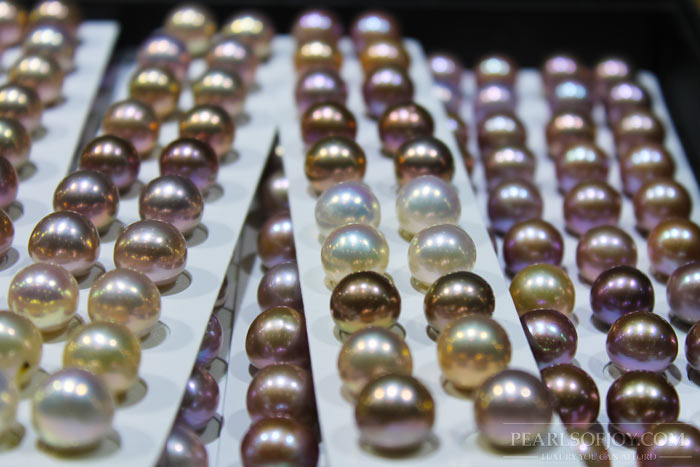 close up of assorted pearls