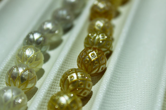 close up of the Galatea pearls