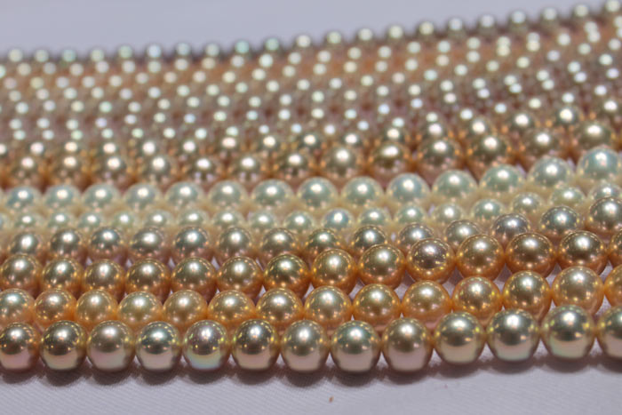 strands of pearls in different colors