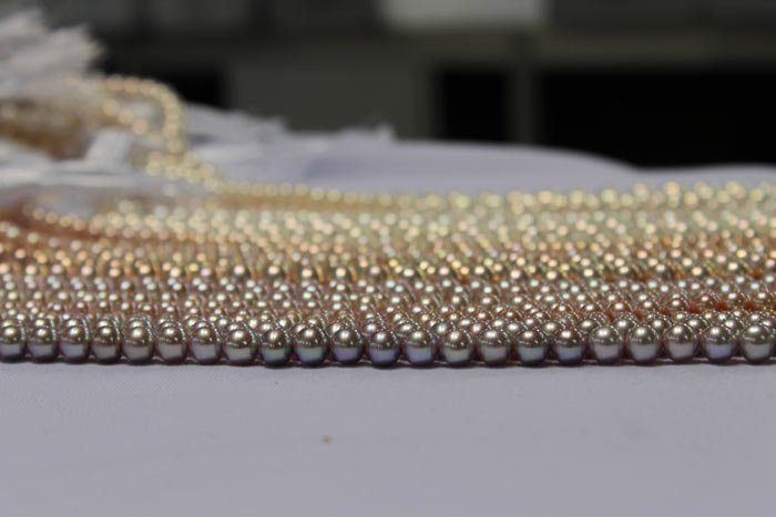 strands of metallic pearls