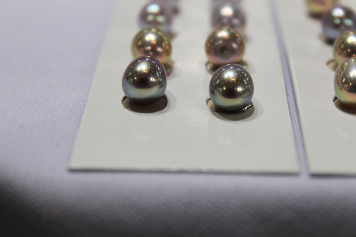 a matched pair of drop shaped pearls