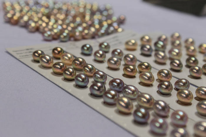 drop pearls in different colors and sizes