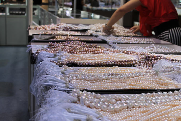trays of bead-nucleated pearls from Grace Pearl