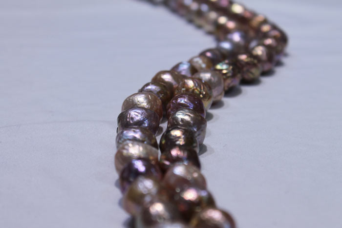 closer view of the dark pearls