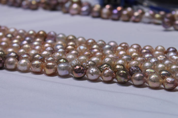 pearls ranging from peach to multicolored