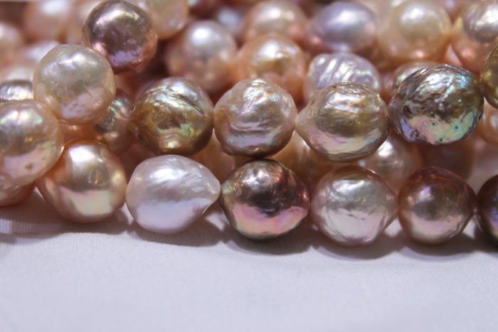 peach and multicolored pearls