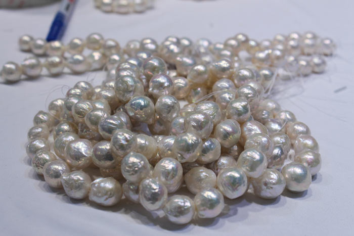 a pile of big, white pearls