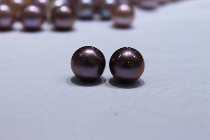 purple pair of Edison pearls