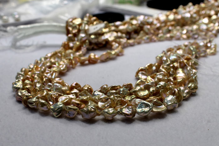 keshi pearls in gold colors