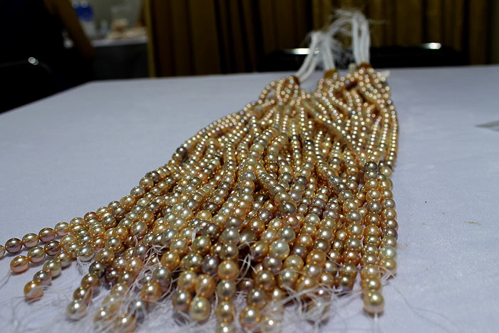 strands of metallic pearls from Heng Mei