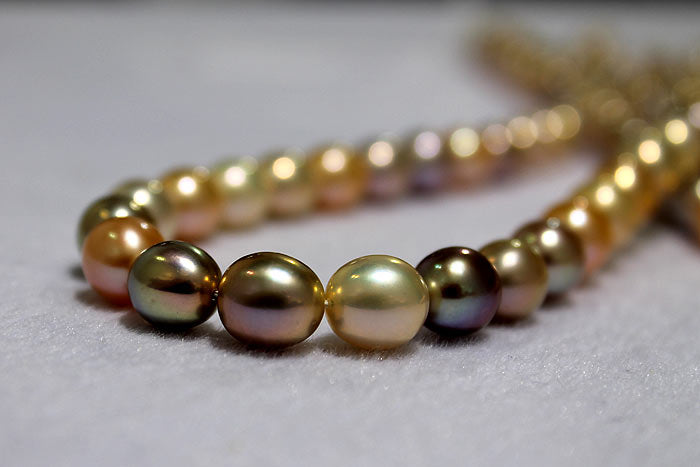 a strand of beautiful metallic pearl drops