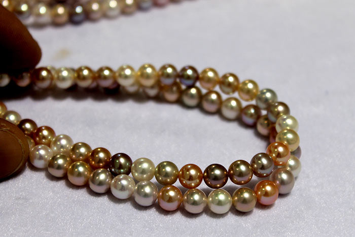 beautiful variety of colors in two round pearl strand