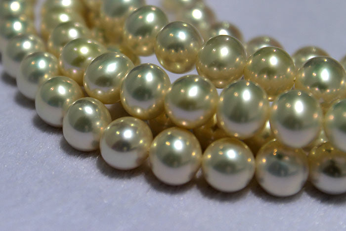 close up of the white pearls' beautiful luster