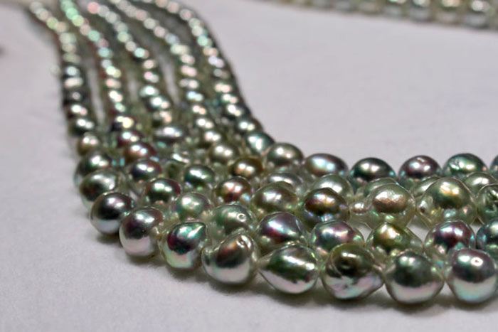 strands of loose baroque Akoya pearls