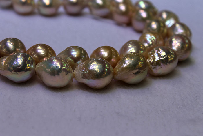 rows of freshwater ripple pearls