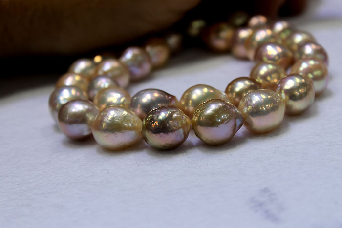 golden ripple pearls on a strand
