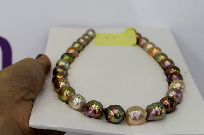 multicolored Holy Grail ripple pearl strand