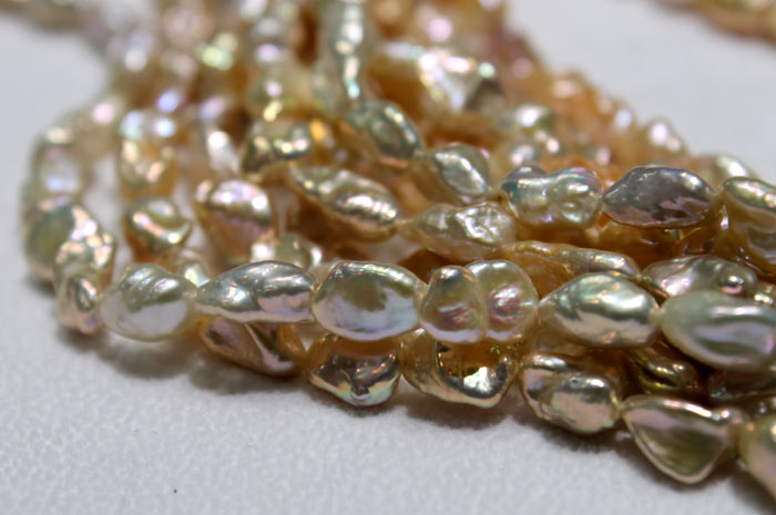 close up of the golden keshi pearls