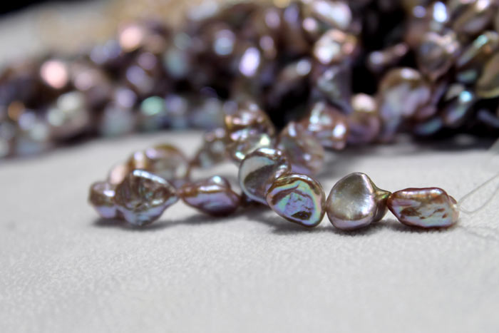 purple keshi pearls