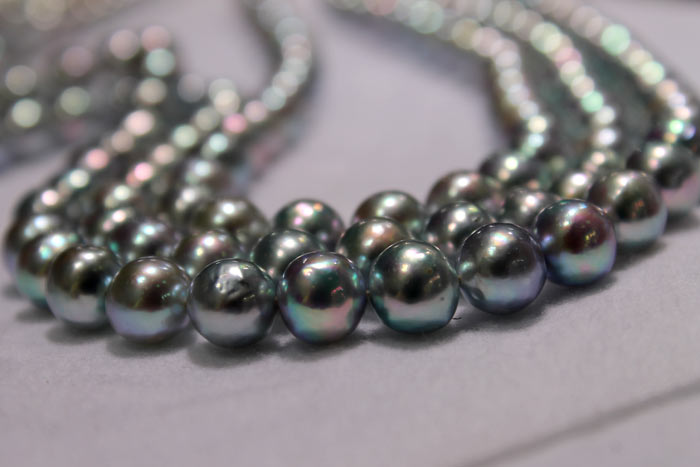 strands of blue Baroque pearls