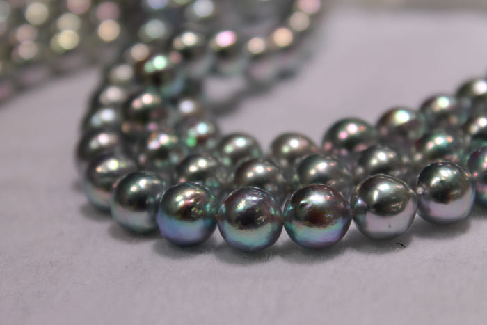 blue baroque Akoya pearls