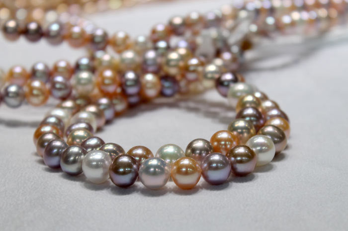 strands of different colored freshwater pearls