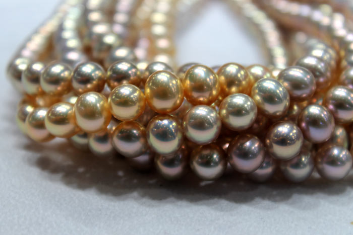 metallic freshwater pearls in lighter gold colors