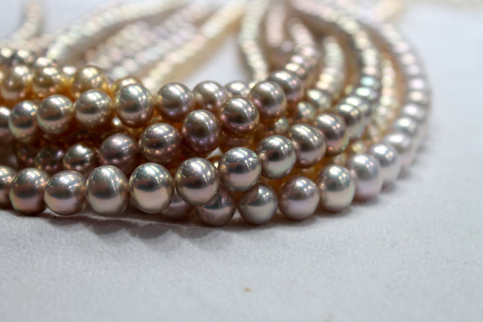 freshwater pearl strands with metallic luster