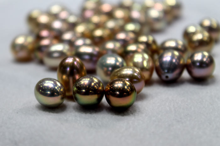 rare colored pearls with metallic luster