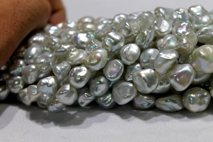 strands of the silver Keshi pearls