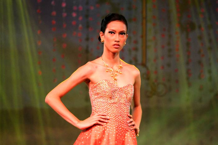 Golden South Sea Pearl embellished dress and jewelry