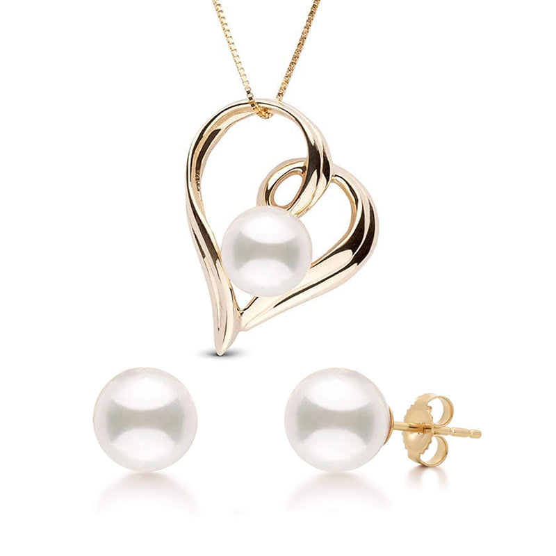 """Featured Pearls of Joy Product Spotlight: """"Heart"""" Akoya Pearl Pendant and Earring Set"""