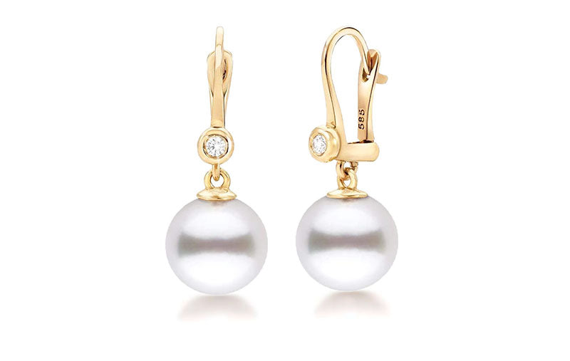 Featured Pearls of Joy Product Spotlight: White South Sea Pearl and Diamond Bezel Dangle Earrings