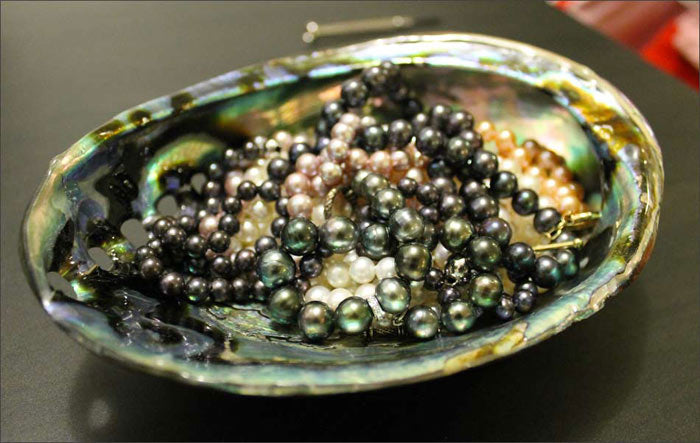 pearls with abalone shell