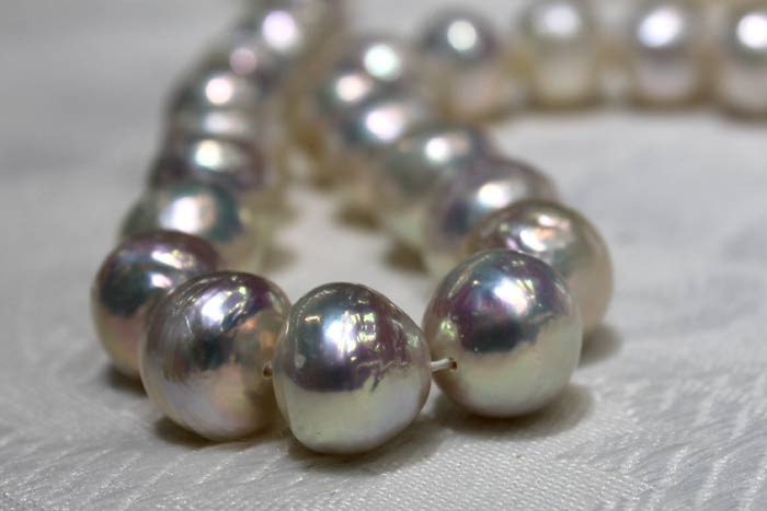 close up of white pearl ripples
