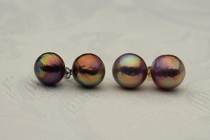 candy colored ripple pearl stud earrings