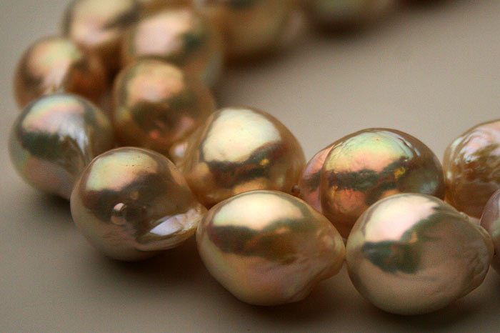 champagne colored ripple pearls