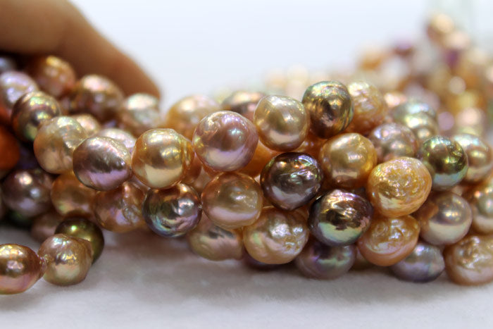 close up of new freshwater ripple pearls