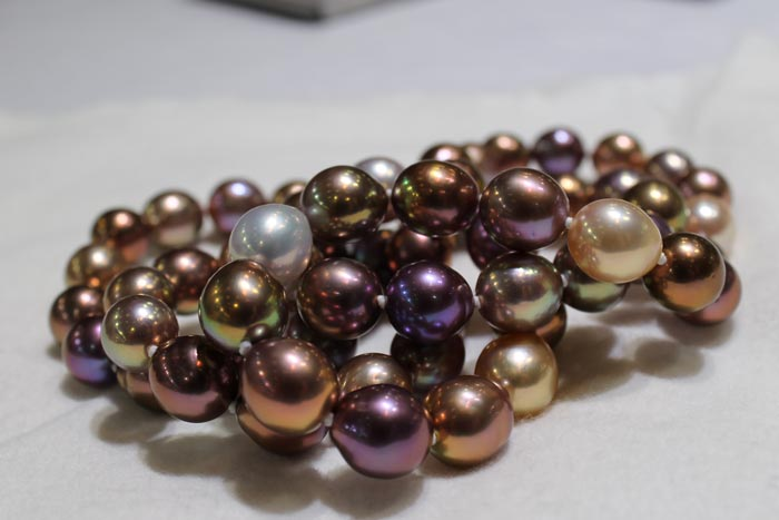 deep rich colors of natural color freshwater pearls