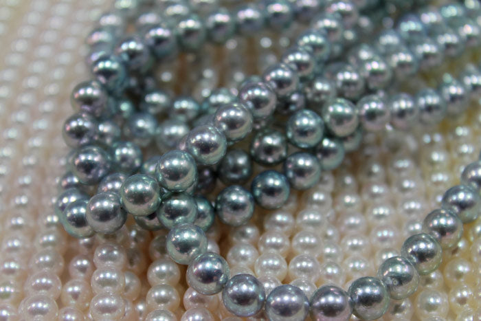 Akoya pearls with intense blue coloring