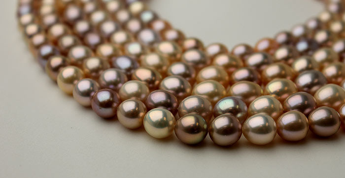 large drops of rare colored pearls