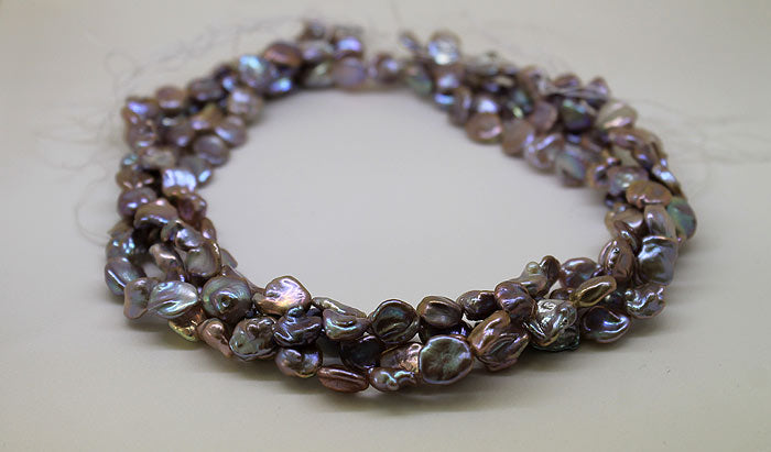 strands of beautiful lavender Keshi pearls