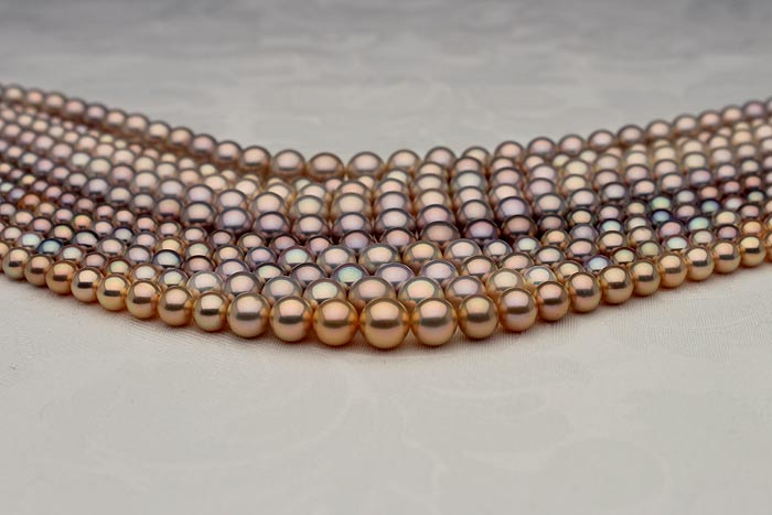 graduated fancy color metallic pearl necklaces